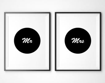 Mr and Mrs Wall Art Set of 2, Mr and Mrs Print, Large Wall Art, Wedding Gift, Oversized Art, Black and White Wall Art, Trending Items