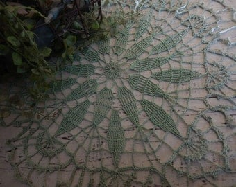 Vintage Doily Romantic Cottage Chic Decor Handmade Jade Green Kitchen Bedroom Home Decor