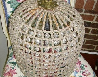 Romantic Crystal and Beaded Birdcage Chandelier, Crystal Prisms, Beaded Frame #2