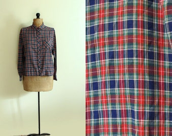 SALE vintage shirt blouse plaid 1970s navy blue green red size clothing large l