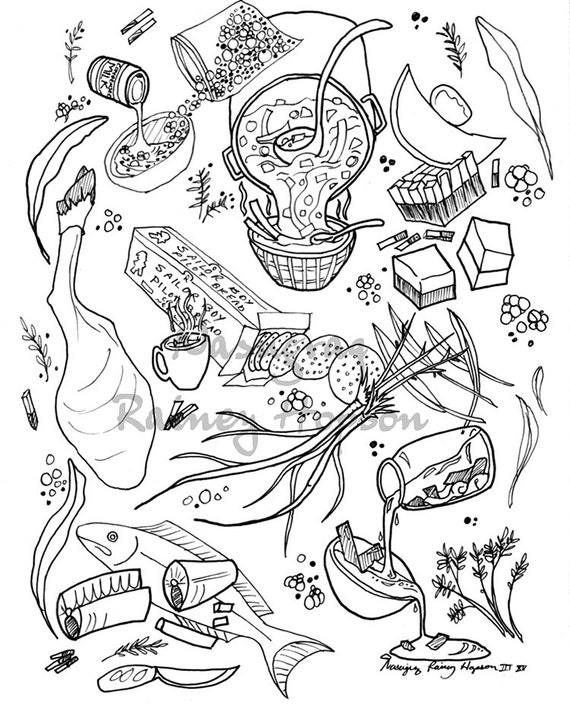 Inupiaq Food Love - Hand Drawn Alaska Native coloring page - dowload and print your own