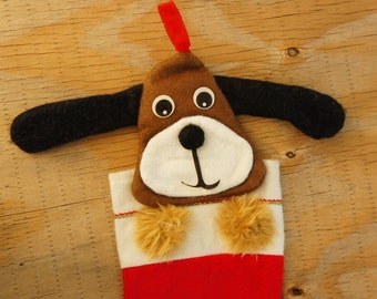 Vintage 70s-80s Doggie Puppy Christmas Stocking Holiday Decor