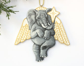 Elephant Angel Ornament - Original Handmade Painted Wood Christmas Decoration - Hand Painted Holiday Ornament - Animal Angel Ornament