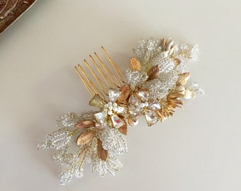 Lily Bridal Hair Comb, Beaded Hair Comb, vintage Style