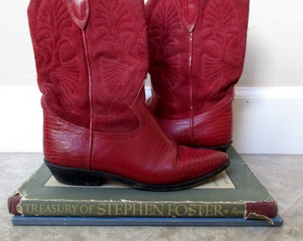Vintage red leather Cowboy Boots- women's size 6.5
