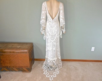 Hippie Boho Wedding Dress SIMPLE Wedding Dress Celtic LACE Wedding Dress Backless Vintage Wedding dress sz Large