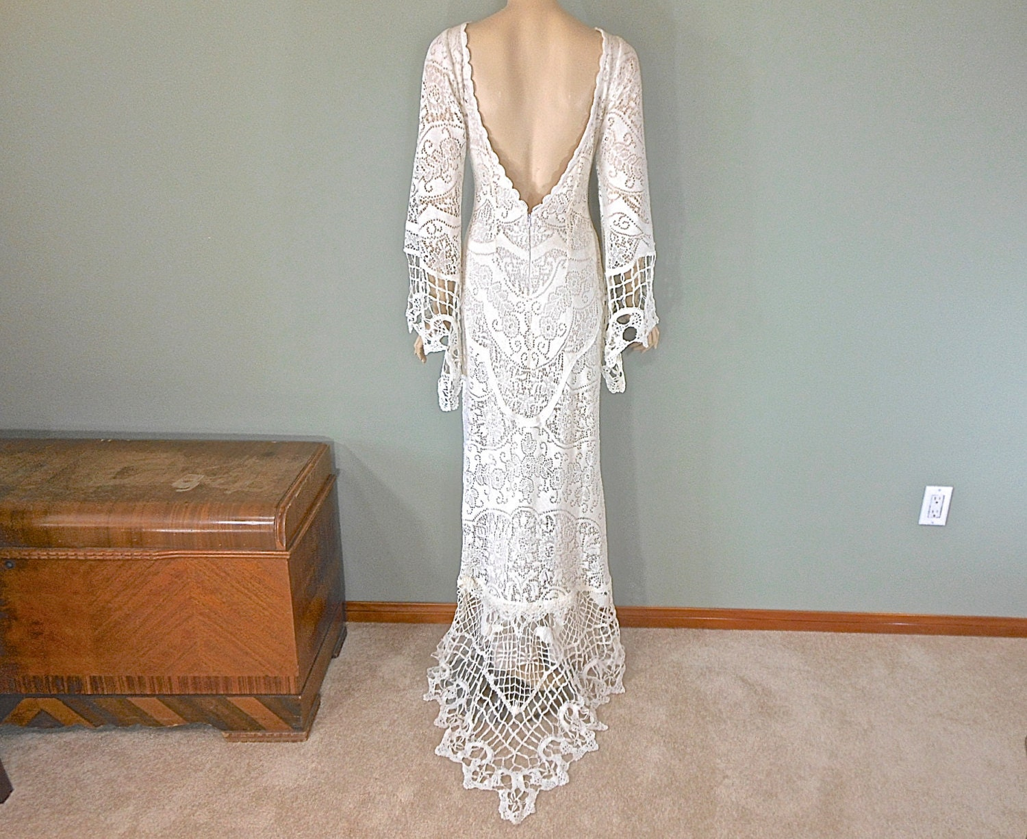 Simple Wedding Dresses: Hippie Boho Wedding Dress SIMPLE Wedding Dress Celtic LACE