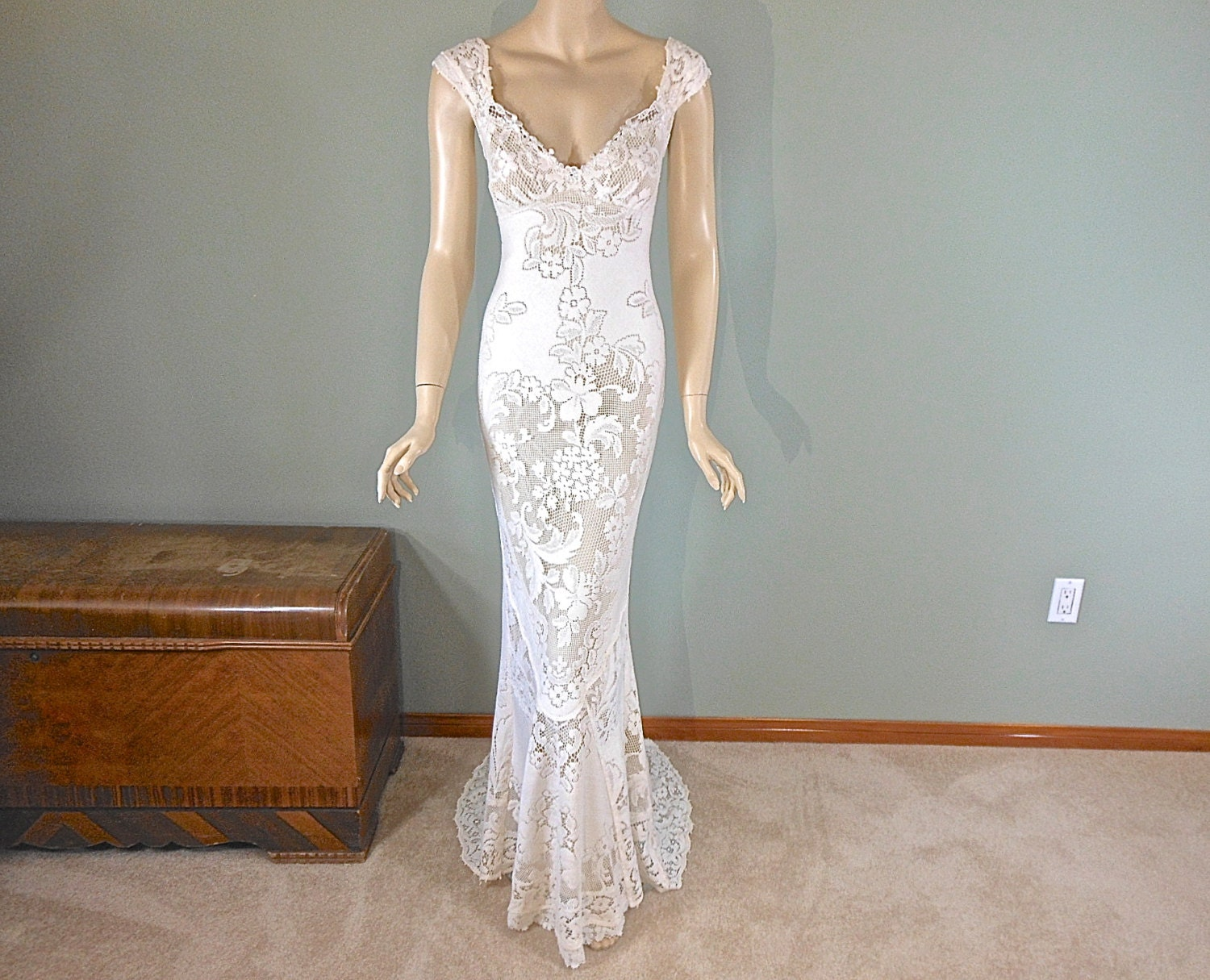 Cream MERMAID Lace Wedding Dress Boho Wedding Dress Vintage