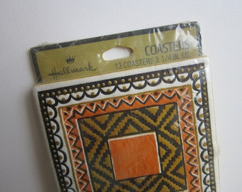 vintage paper coasters - vintage Hallmark geometric pattern - set of 12