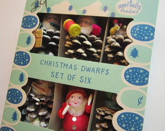 6 vintage pinecone and spun cotton elves - SHINY BRITE box - mercury glass, candle stamens, bump chenille