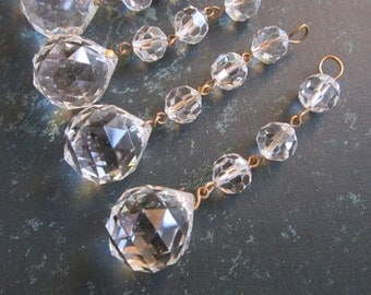 vintage chandelier crystal - salvaged prism, dangle prism ball - several available