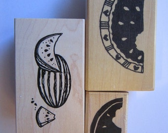 3 rubber stamps - WATERMELON stamps