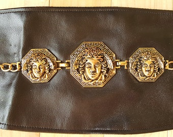 "Wide Medusa Head Belt, Black and Gold - 29"" waist- clasp and lace-up back"