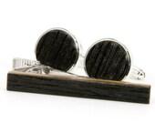 Whiskey Barrel Cufflinks Tie Bar Set   Wooden Cuff Links   Wooden Tie Clip   Gift Idea For Fathers Day, 5th Anniversary, Wedding, Graduation