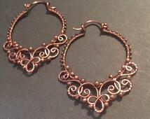 Antique copper wire wrapped filigree hoop earrings.#24
