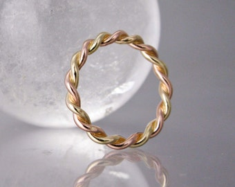 Thick Gold Twist Wedding Ring - Unisex 2.5mm Wide Two Tone Twist in Solid Rose Gold, White Gold or Yellow Gold
