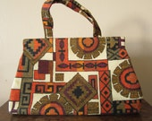 50s abstract print handbag - MARGARET SMITH - Aztec design tapestry purse - metal spring closure and sateen lining