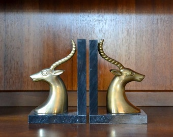 vintage mid-century marble and brass antelope bookends