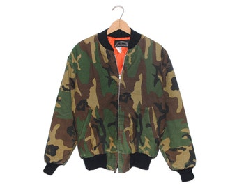 Vintage All Weather Fully Lined Camo Bomber Jacket Made in USA - Large