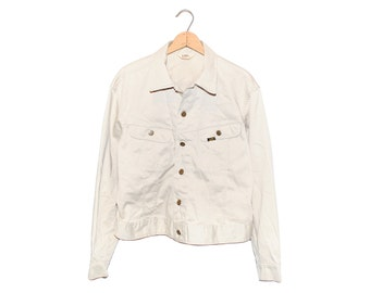 Vintage Lee Westerner Off White 100% Cotton Jacket Made in USA - 44 Regular