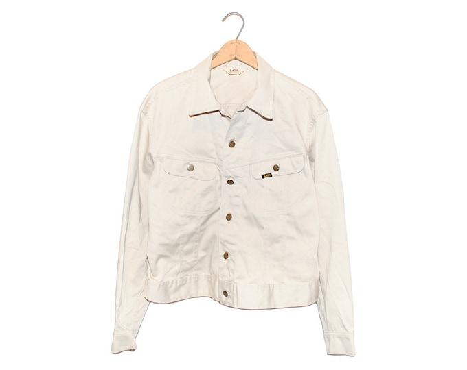 Vintage Lee Westerner Off White 100% Cotton Jacket Made in USA - 44 Regular