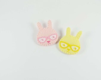 45% SALE Curious Bunny Felt Brooch / Romantic Rose Pink Rabbit Felt Pin /  Felt Rabbit Brooch / Lemon Rabbit With Glasses Pin / Pastel Bunny