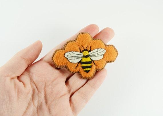 Bee brooch felt beehive bumble