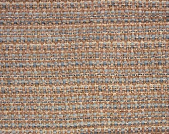 Blue & Brown Textured Tweed Basket Weave Upholstery Fabric