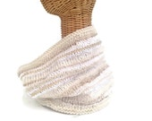 Knit Off White Cowl Wool Scarf Textured Neck Warmer