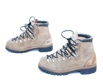 mens size 8 HIKING tan leather 80s 90s RUSTIC made in USA