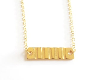Small vintage gold bar necklace - Monet charm - gold plated 19 inch chain
