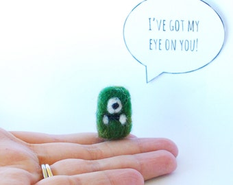 Tiny felted Cyclops, Needle felted monster, Love Note, Boyfriend gift, Birthday Gift