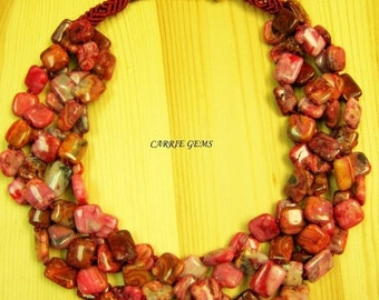 20% OFF ON SALE 4-Strand Pink Crazy Agate Handmade Knots Necklace