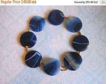 "20% OFF ON SALE 16"" long (8 pcs)  Blue Agate Faceted Flat Round 40mm Beads, Gemstone Beads"