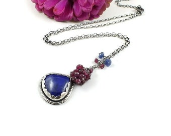 Sterling silver necklace, lapis and ruby necklace, metalwork jewelry, romantic retro jewelry, magic necklace