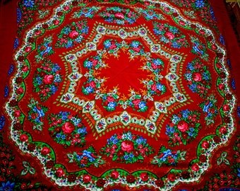 """Vintage Large Russian Shawl Head Scarf with Tassels - Floral - Roses on red - Wool - 56"""" inches - From Ukraine Russia Soviet Union / USSR"""