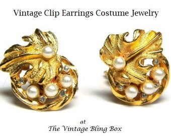 50s Rhinestone & Pearl Earrings with Pave Set Chaton Cut Crystal Accents in Gold Leaf Motif - Vintage 50's Clip Earring Costume Jewelry