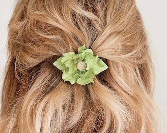 Light green leather flower small french barrette hair clip