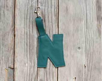 Dark green leather key fob -   Luggage Tag monogram initial letter