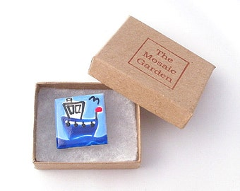 Boat Brooch Badge, Fishing Boat Brooch, Nautical Badge, Gifts for Mum, For Her, Gift for Girls