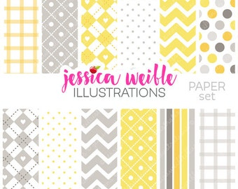 Gray & Yellow Baby Digital Papers for Commercial or Personal Use, Gray Chevron Patterns, Gray and Yellow Papers