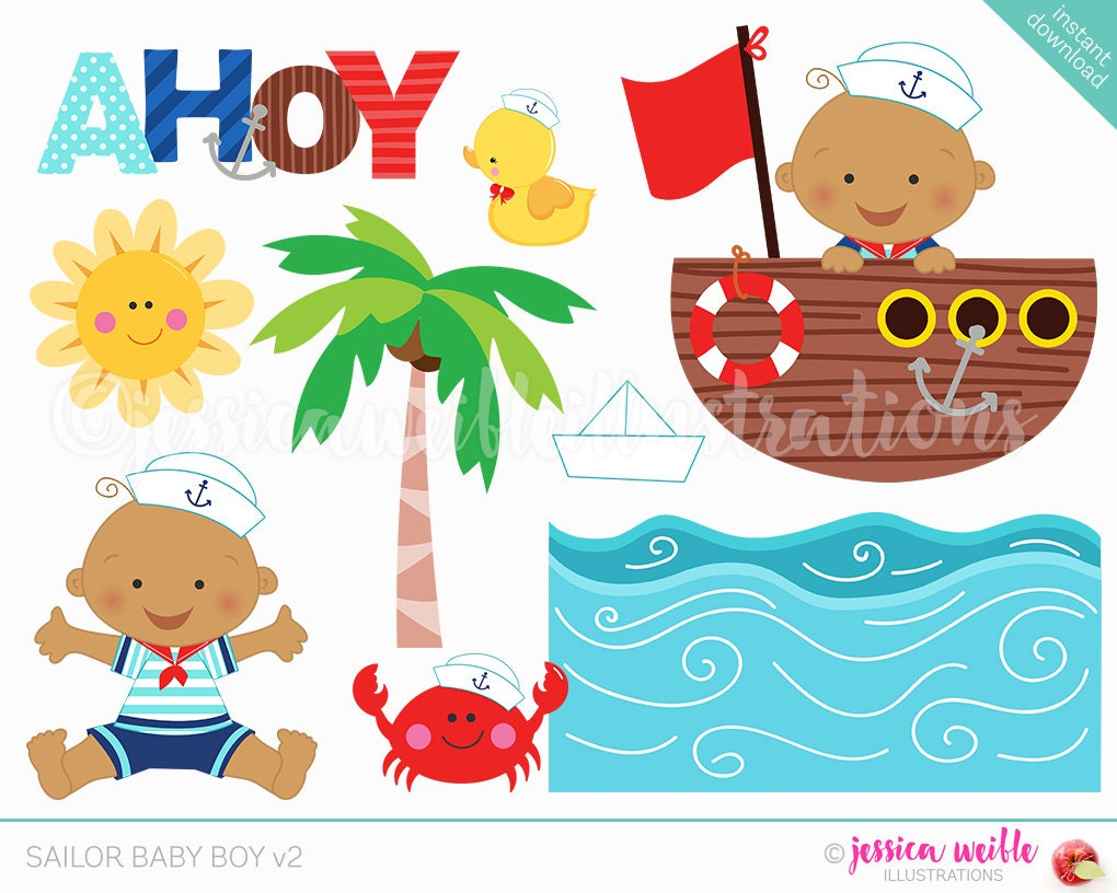 Sailor Baby Boy v2 Cute Digital Clipart Sailor Clip art