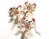 Mouse Christmas Ornaments, Three Vintage Flocked White Mice (CO)