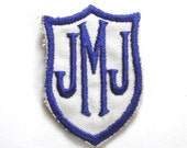 JMJ Monogram Shield Embroidered Vintage Patch in Blue and White