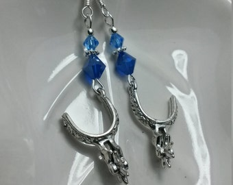 Blue Spur Earrings, Silver Spur and Blue Swarovski Crystal Sterling Silver Earrings, Silver Spur Blue Crystal Sterling Earrings