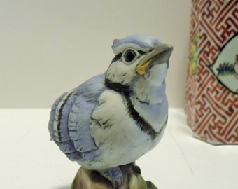 Blue Jay Porcelain Bird Figurine, Blue Jay Bird By Andrea