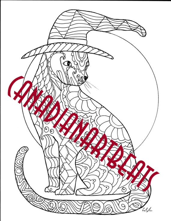 Happy Halloween-Witch-Cat-Unique Adult Coloring Page-Digital
