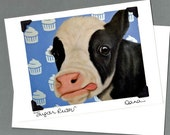 Cow Card - Birthday Card - Cow Birthday Card  - 10% Benefits Animal Rescue