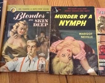 Vintage Pulp Fiction Paperbacks Detective mystery Thriller Hard-boiled Crime Noir