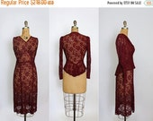 75% OFF 1930s dress - 30s lace dress - chantilly lace - blouse - jacket - peplum - burgundy red - extra small
